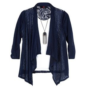 Iz Byer Navy and white lace cardigan top
